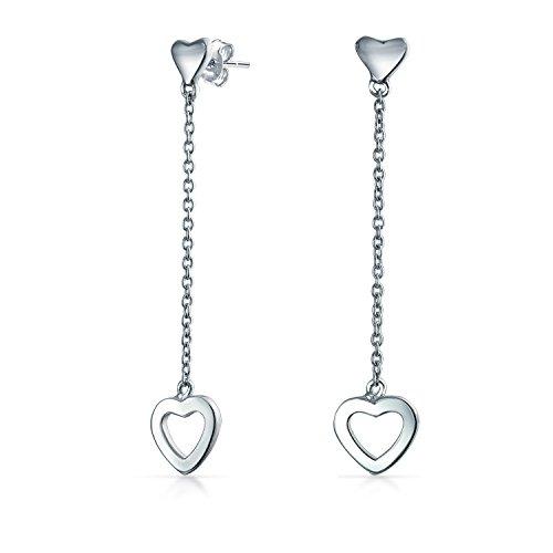 Minimalist Open Hearts Chain Long Linear Dangle Earrings For Women For Girlfriend Teen 925 Sterling Silver 1.9 Inch