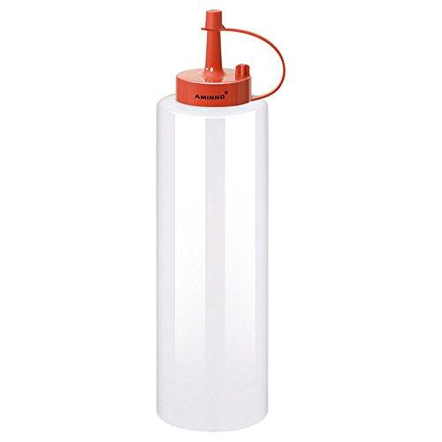 xiaoshenlu Botellas plásticas para condimentos exprimidores con Tapa para Salsa de Tomate Mostaza para Ensalada de mayonesa Tahini Dispensadores para condimentos con Salsa de ostras, 400 ml, Rojo