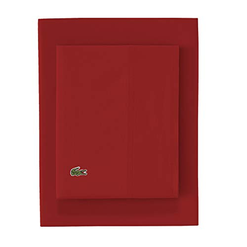 Lacoste 100% Cotton Percale Sheet Set, Solid, Chili Pepper, Queen