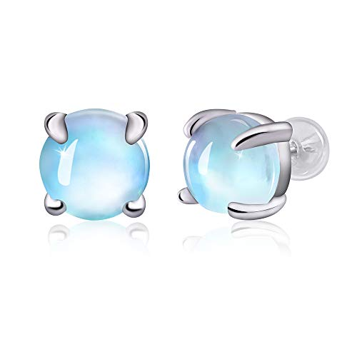 Hypoallergenic Moonstone Stud Earrings 925 Sterling Silver Rainbow Moonstone Earrings for Women Girls Moonstone Jewelry Small Round Earrings for Sensitive Ears.