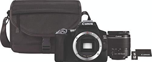 Canon EOS 250D, Cámara Réflex 24.1 MP (4K WiFi Bluetooth + Objetivo EF-s 15-55mm + Bolsa + SD 16GB), Tamaño Único, Negro