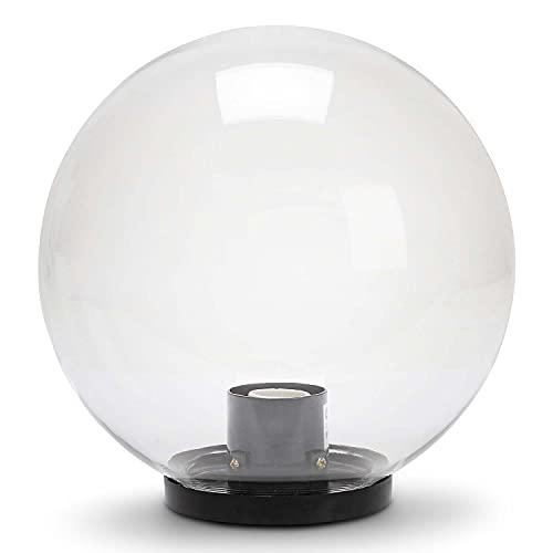 Velamp Lampione da esterno, 250mm, Attacco E27, Compatibile LED, Impermeabile IP44, per Giardini, Parchi, Condomini, Terrazzi, Trasparente