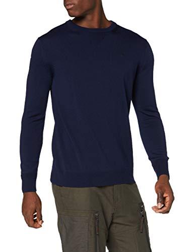 G-STAR RAW Herren Pullover Sweater Premium Basic, Sartho Blue B692-6067, Medium