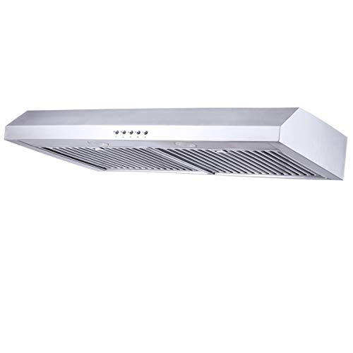 Range Hood 30 inch,Kitchenexus Stainless Steel 300CFM Ducted/ductless Under Cabinet Kitchen Vent Hood with LED Lighting and Hybrid Stainless Steel Filters T-16A