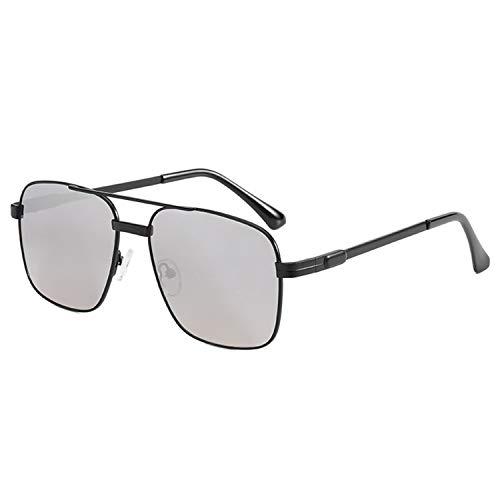 HUANGDAN Gafas de Sol de Metal de Moda de Las señoras, Gafas de Sol de Marco Grande de Moda, Personalidad Gafas de Sol de fotografía de Calle Lisa,F
