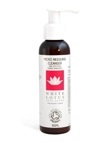 White Lotus Anti Aging detergente viso – microneedling – detergente per il viso organico certificato per l'uso con derma roller – pelle sensibile - detergente naturale con aloe vera e te verde 100 ml