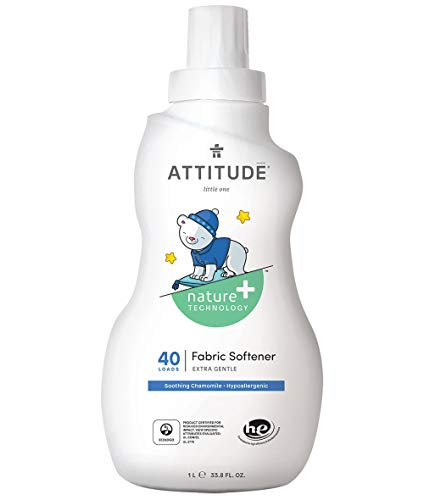 ATTITUDE Baby Fabric Softener, Hypoallergenic, Plant-based, Non-toxic, ECOLOGO Certified, Fluid Ounce, 40 Loads, Soothing Chamomile, 33.8 Fl Oz (Pack of 1)