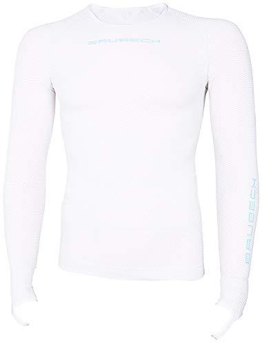 BRUBECK Fahrradshirt Herren Langarm weiß| Funktionskleidung Fahrrad | Radsport Langarmshirt atmungsaktiv nahtlos | Long Sleeve Shirt Bike Seamless | 3D-Struktur | White| Gr. XL | LS13010