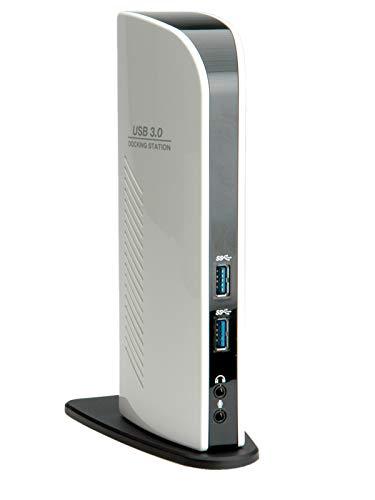 ROLINE 12021042 USB 3.0 Dual Head Docking Station Black and White, DVI, HDMI, LAN schwarz/weiß