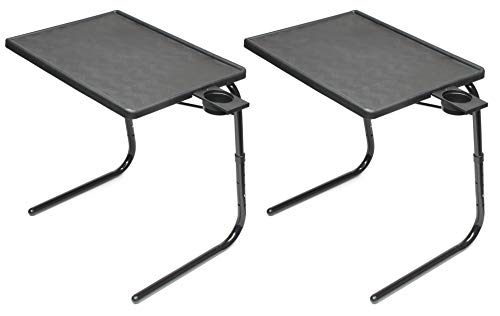 Table Mate II Folding TV Tray Table and Cup Holder with 6 Height and 3 Angle Adjustments The Original TV Tray (Black, 2-Pack)