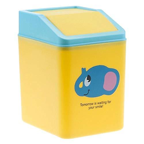SKKGR Mini Bote de Reciclar Basura Papelera Miniatura Dibujos Animados Mini Escritorio Flip basurero hogar y Oficina Almacenamiento de escombros Amarillo bebé Elefante 15 * 10 * 11 cm
