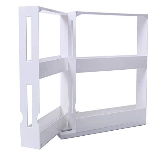 Elibeauty Drehbares Gewürzregal, drehbar, für Küchengewürze und Gewürze, Aufbewahrung, Organisation, multifunktional, Gewürzregal, ausziehbarer Glashalter (weiß)