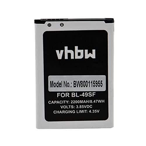 vhbw Batterie Compatible avec LG G4 Beat, G4C, G4 Mini, G4s, G4s Dual SIM, H515, H525N, H731 Smartphone (2200mAh, 3,85V, Li-ION)