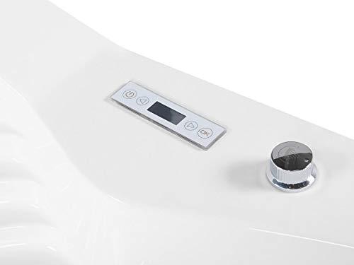 Whirlpool Badewanne St. Tropez mit 14 Massage Düsen + Heizung + Ozon Desinfektion + LED Unterwasser Beleuchtung / Licht + Wasserfall + Radio – Sprudelbad Hot Tub indoor / innen günstig - 3