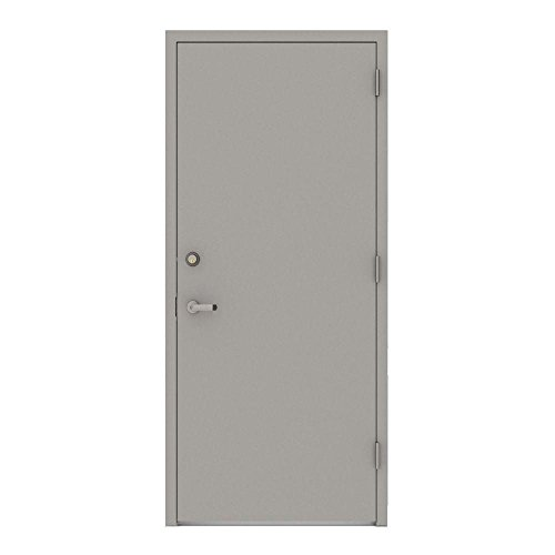 L.I.F Industries 36 in. x 80 in. Gray Flush Left-Hand Security Steel Prehung Commercial Door Welded...