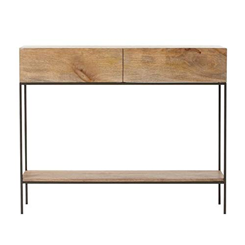 Mesa de consola de madera maciza con cajones, mesa de consola de sofá de sala de estar de pasillo minimalista moderno, mesa auxiliar estable con estructura de metal, para entrada, sala de estar, dor