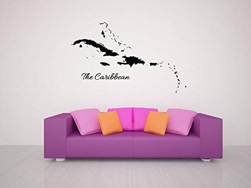 The Caribbean Islands Map Silhouette Vinyl Wall Words Decal Sticker