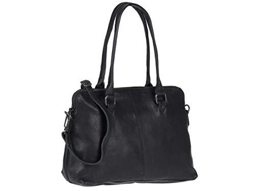 Bear Design Schultertasche Handtasche Tasche Leder Callisto Pelle schwarz