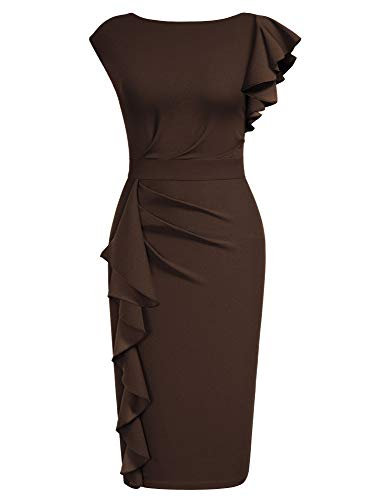AISIZE Women Pinup Vintage Ruffle Sleeves Cocktail Party Pencil Dress X-Large Brown