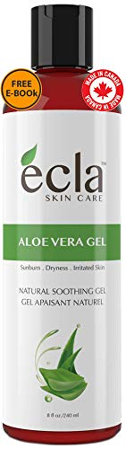 Aloe Vera Gel for Face, Body and Hair - Made with Organic 100% Pure Cold Pressed Juice, Not Powder - Natural Unscented and No Alcohol (8 Oz - 240ml)