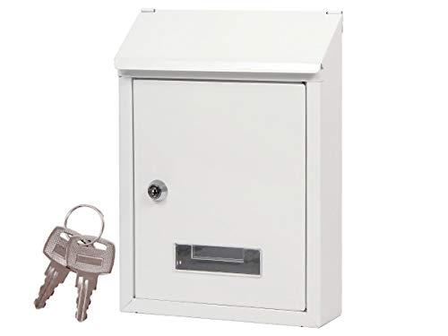 Alsino Briefkasten Postkasten Wandbriefkasten Stahlbriefkasten pulverbeschichtet + 2 Schlüsseln, Befestigungsmaterial inklusive BRK 66007, weiß