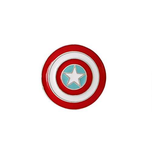 JiuErDP 2pcs Capitán América Arma Escudo Escudo Broche Estudiante Cowboy Insignia Broches y alfileres