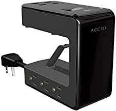 Accell Power U - Clamping Surge Protector with 6 AC outlets and 4 USB-A Charging Ports, UL Certified, Black