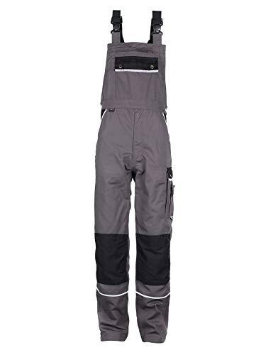 TMG® Arbeitslatzhose Herren, Lange Arbeitshose mit Latz und Kniepolstertaschen Grau 54