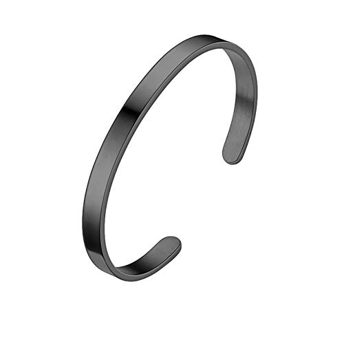 Homemarke Gifts for Women, Silver Bracelet Charm Romantic Bangle Classic Adjustable Chain Link Jewelry Gift for Mum Wife Daughter Friend(Black)