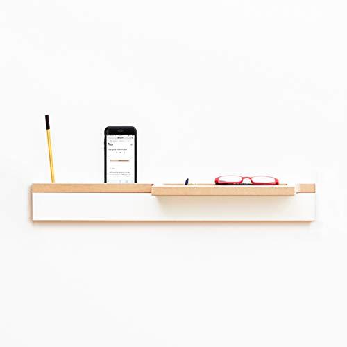 Tojo Grad I Ablage für Smartphone, Brille, Stifte und Briefe I Weiße Designer Flur Ablage Wand I Modulare Garderobensystem I Flurpaneel