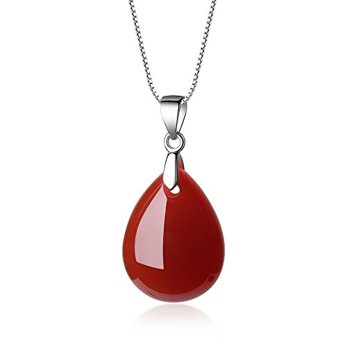COAI Geschenkideen 925 Sterling Silber Halskette aus Achat Rot Träne der Engel und Wassertropfen Anhänger für Damen und Mädchen