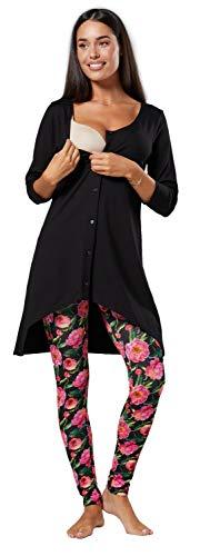 HAPPY MAMA Mujer Premama Amamantamiento Conjunto de Chándal 1273 (Flores Negras y Negras, 40, L)
