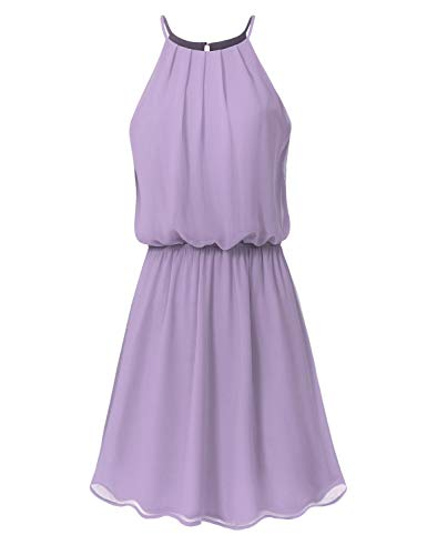 JSCEND Women's Sleeveless Double Layered Pleated Neck Cami Chiffon Mini Dress (S~3XL) A-Lavender L