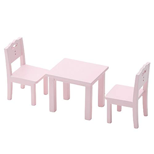 Uticon Dollhouse Toy, Kids Table Chair Set Mini Furniture Model Decoration Gift for 1/12 Dollhouse - Pink