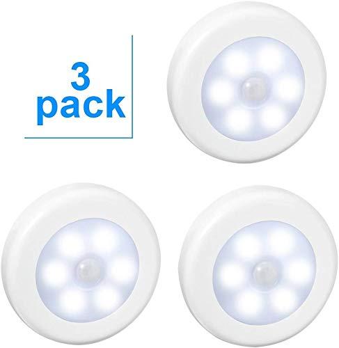 AIGUOZER 3 Pack LED Motion Sensor Night Light, PIR Motion Sensor LED Cabinet Lights Battery Powered Wireless Lighting Night Light Stick with FREE 3M Adhesive Pads & Magnetic for Wardrobe White