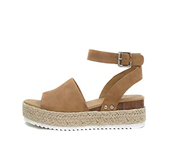 Soda Topic Open Toe Buckle Ankle Strap Espadrilles Flatform Wedge Casual Sandal  10 Tan