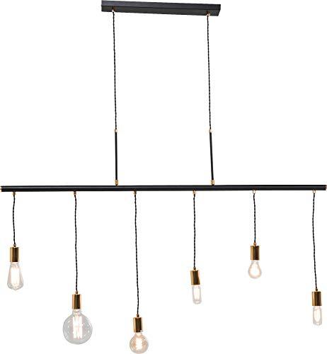 Kare Design Hängeleuchte Pole Six, Pendelleuchte mit 6 unterschiedlich hohen Fassungen, höhenverstellbare Deckenlampe mit kupfernen Lampenfassungen, Schwarz (H/B/T) 140x135x8cm