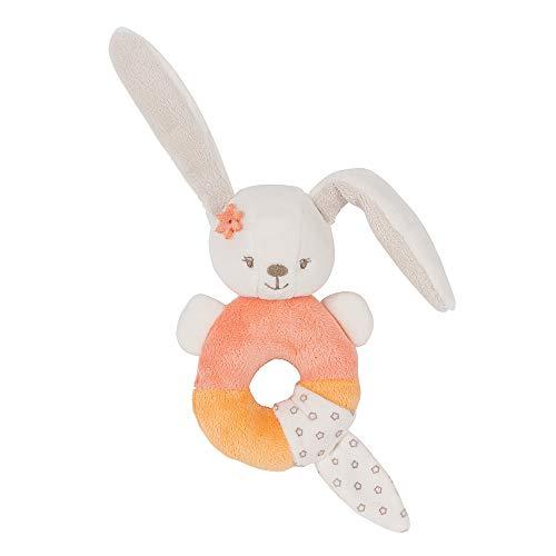 Nattou Hochet Lapin Mia, Mia et Basile, 26 x 14 x 5 cm, Blanc/Orange
