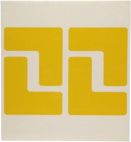 Brady ToughStripe Nonabrasive L Shape Floor Marking Tape, 5 Length, 2 Width, Yellow (Pack of 20 per Roll) - 104433