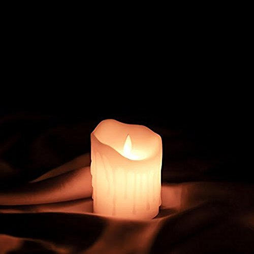Etronic Real Wax 3D Dancing Flame Tear Wave Shaped Flickering Flameless Battery Powered LED Pillar Dripless Motion Candle, 3' x 5', Ivory, for wedding, Paries Events Romantic Decorations