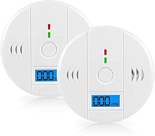 Carbon Monoxide CO Alarm Detector, 2-Pack CUZMAK Digital Display Carbon Monoxide Co Gas Alarm for Car Travel Home Bedroom Kitchen Living Room Basements, Beeps Alarm Clock Warning