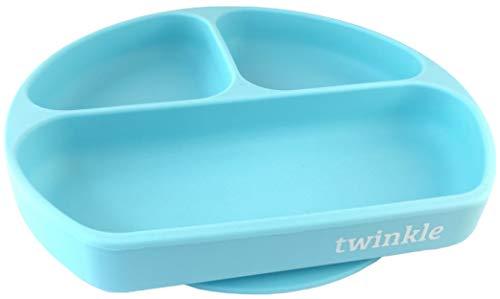 Twinkle - Plato de Silicona con Ventosa para Bebe - Plato Infantil Antideslizante con Succion para BLW y Aprendizaje Bebes (Azul)
