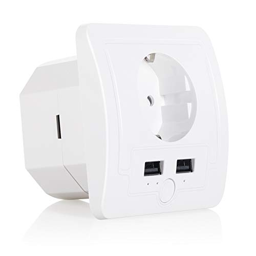 UseeLink Enchufe inteligente con WiFi, 1 enchufe y 2 puertos USB, mando a distancia, temporizador, no requiere hub, compatible con Alexa Echo y Google Home.
