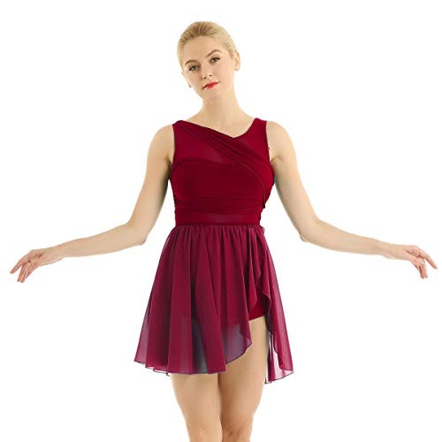 iixpin Damen Chiffon Ballettkleider Ballett unregelmäßig Rock Tanz Trikot für Frauen Ballettanzug Tanzkleider Trikotanzug Tanzanzug Wein Rot Small