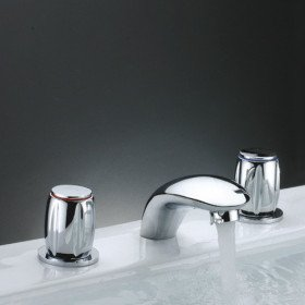 Two Handles Chrome Widespread Waterfall Bathtub Faucet