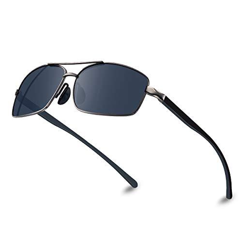 Bloomaok Polarisierte Sonnenbrille Herren Fahren Sonnenbrille 100% UV400 Schutz Polarisierte Outdoor Sportbrille Sonnenbrille mit Classic Al-Mg Metallrahmen