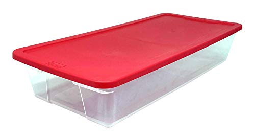 HOMZ Holiday Plastic Storage Container, 41 Quart - 34.375' x 15.5' x 6', Red, 2 Count
