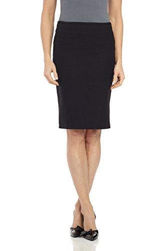 Rekucci Womens Ease in to Comfort 23' Shape Defining Pencil Skirt with Side Slits (X-Small,Black)