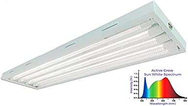 Active Grow T8 HO LED Grow Light Fixture for Indoor Gardens & Hydroponics - Contains (4) 22W T8 HO 4FT LED Tubes - Sun White Full Spectrum (High CRI 95) - 120-277V