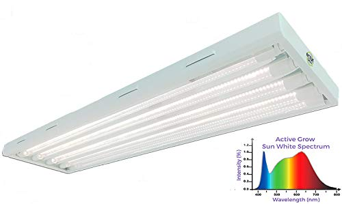 Active Grow T8 HO LED Grow Light Fixture for Indoor Gardens & Hydroponics - Contains 4 X 22W T8 HO 4FT LED Tubes - Sun White Full Spectrum (High CRI 95) - 120-277V Universal Voltage - Daisy-Chainable